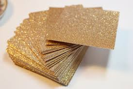 gold glitter cardstock wedding invitations and favor tags