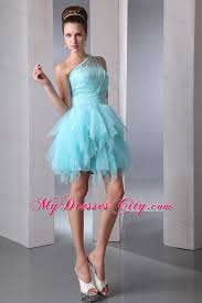 blue a line one shoulder ruffles short prom dress with beading