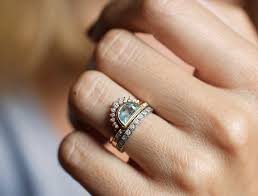 half ring aquamarine ring half moon aquamarine ring crescent ring
