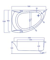 carron omega 5mm acrylic offset corner bath 1700 x 1000mm lh
