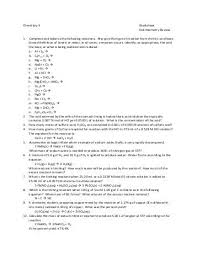 chemistry worksheet 12 3 limiting reagent and pecent yield with