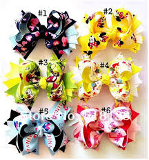 mickey mouse hair bow handmade 4 5 5 mickey mouse print ribbon hair bows with