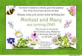 twin birthday invitation cute children dragonflies green