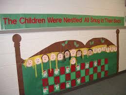 cute christmas bulletin board idea the children were nestle all