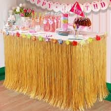luau party supplies aliexpress buy ourwarm artificial hibiscus grass table skirt