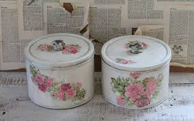 cottage farmhouse decorative canister set kitchen storage vintage