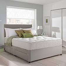 Grey Suede Memory Foam Divan Bed Set With Mattress Headboard And
