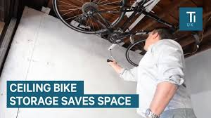 this space saving bike rack attaches to your ceiling youtube
