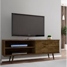 Flat Screen Tv Wall Cabinet With Doors Lewis 62 99 Mid Century Modern Tv Stand With 3 Shelves And 2