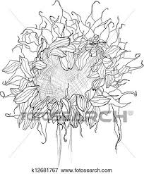 clip art of pencil drawing sunflower sketch k12681767 search