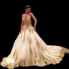 gold wedding dress aliexpress buy luxury sleeve white gold wedding dresses