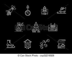 theme line winter winter holidays theme white line icons collection new year