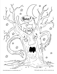 Halloween Pictures Coloring Pages Tree Halloween Coloring Page