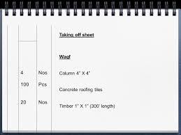 Concrete Takeoff Spreadsheet 1 Preliminary Model Estimation And 2 Actual Model Costing Prepared