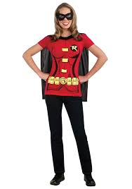 halloween costumes at amazon amazon com dc comics women u0027s robin t shirt with cape and eye mask