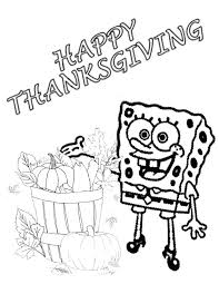 spongebob harvest thanksgiving coloring page h m coloring pages