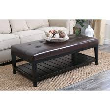 Leather Top Ottoman Coffee Table Fabulous Leather Ottoman Fabric Ottoman Leather