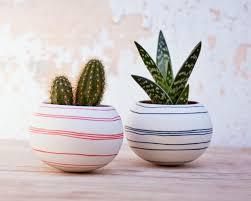 ceramic cactus planter orange stripes porcelain mini