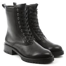 black biker boots dkny melissa black leather lace up biker boot