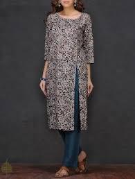 buy black beige kalamkari printed cotton kurta by jaypore online