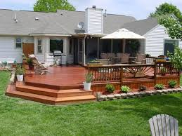yard design white umbrella and cool deck ideas for small yard design using