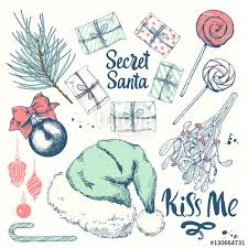 christmas vector illustration set in sketch style present on