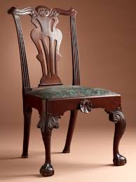 file side chair with baluster splat and tassel carved crest rail