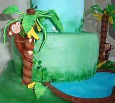 jungle or safari baby shower cake with edible monkey in banana