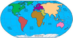 continents on map map of the continents map
