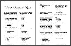 french revolution pop quiz free to print student handouts