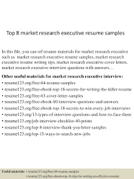 Marketing Operations Executive Resume Top8marketresearchexecutiveresumesamples 150517032304 Lva1 App6892 Thumbnail 4 Jpg Cb U003d1431833027