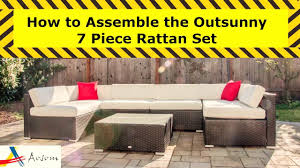 How To Fix Wicker Patio Furniture - how to assemble the outsunny 7 piece rattan set aosom assemblers