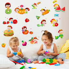 stickers cuisine enfant fruits et légumes de bande dessinée mignon cuisine stickers muraux