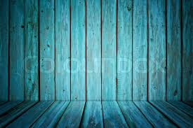 painted wood wall room interior with blue painted wooden walls and floor