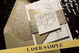 wedding invitations glitter gold glitter laser printed wedding invitation calligraphy