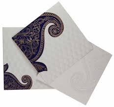 Online Indian Wedding Invitation Cards Indian Wedding Card In Cream And Golden With Blue Paisley Design