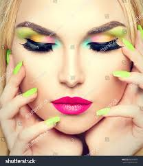 beauty woman face portrait vivid makeup stock photo 306619907