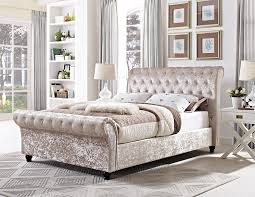 Velvet Sleigh Bed Chagne Crushed Velvet Upholstered Chesterfield Sleigh Bed Frame