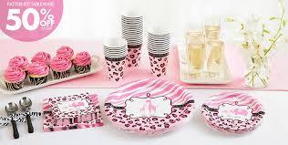 baby shower party supplies pink safari baby shower ideas pink cupcake leopard pattern