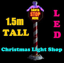 stop sign with led lights 1 5m santa stop here pole pvc flashing led lights outdoor christmas