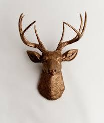 deer head bronze faux deer head wall mount the bennett faux taxidermy decor