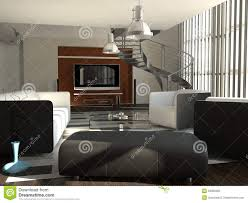 living room with metal spiral staircase stock illustration image