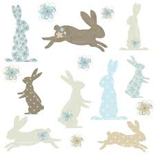 bunny rabbit silhouettes with patterns clipart ideal for