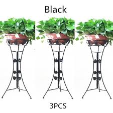 Pedestal Pots 3 Elegant Metal Plant Stand Flower Pots Shelf Unit Pedestal