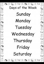 days of the week u2013 1 worksheet printable charts pinterest