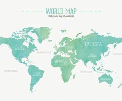 Atlantic Ocean On A World Map by Watercolor World Map Vector Art U0026 Graphics Freevector Com