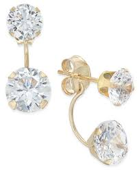 front and back earrings cubic zirconia peekaboo front and back earrings in 10k gold