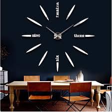 new fashion 3d big size wall clock mirror sticker diy brief