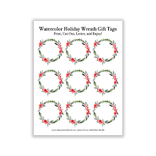 Holiday Wreath Watercolor Holiday Wreath Gift Tags The Postman U0027s Knock
