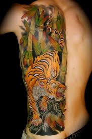 colors japanese tiger on ribs tattoos